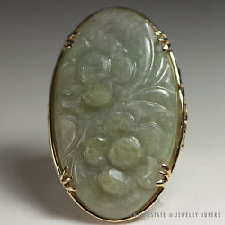 Ming's Hawaii Large Jade Carved Flower 14k Yellow Gold Ring Sz 6.5