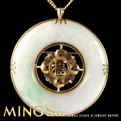 Vintage Mingand039s Hawaii Jade Donut 14k Yellow Gold Pendant And Necklace Chain 20