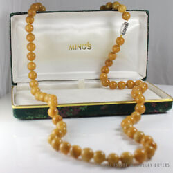 Mingand039s Hawaii Brown Yellow Jade Bead Authentic 14k White Gold Necklace 37 W/ Box