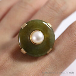 Ming's Hawaii Natural Green Jade Do-nut W/ Cultured Pearl 14k Yellow Gold Ring