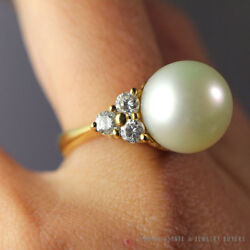 South Sea Pearl And 1ctw Diamond 18k Yellow Gold Ring W/ Gemologist Appraisal