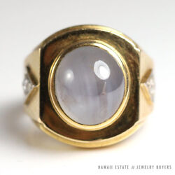 Vintage Natural Star Sapphire And Diamond 14k Yellow Gold Menand039s Ring Size 7