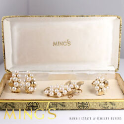 Ming's Hawaii Rare Pearl 14k Yellow Gold Brooch Earrings And Ring Set With Box