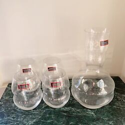 Riedel Swirl 4 Crystal Stemless Pinot Noir Wine Tumbler Glasses And Decanter
