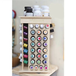 Wood Rotating Essential Oil Bottle Holder Classification Display Stand Rack -