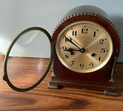 """Mantle Clock With Chime 10"""" Tall 8"""" Wide 6"""" Face Manual Wind With Pendulum"""