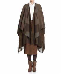 Collection Carlotta Wool Cashmere Suede Patchwork Fringe Cape 8990