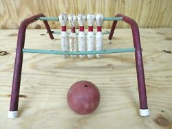 Vintage Five Pins Table Top Bowling Game