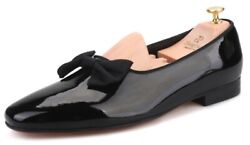 Mens Patent Leather Loafers With Bowtie Dress Shoes Wedding Slippers Flats Black