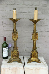 Pair Antique Church Altar Bronze Candle Holder Neo Gothic Lamps Dragon Paws Rare