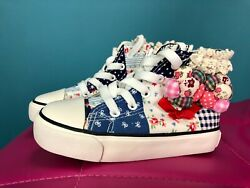New Yeeshow Girls High Top Patchwork Patch Sneakers Blue White 10.5 Us / 27 Euro