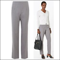 Marks And Spencer Light Grey Size 10 Long Straight Leg Trousers Office Work Wear