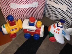 Vintage Tomy Push N' Go Toy Train Engine 1991, 2 Airplanes Lot Of 3