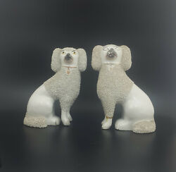 Staffordshire Figurines Pair Of Large Spaniel Dogs Restored