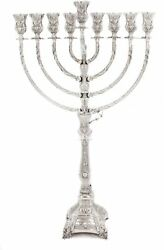 925 Sterling Silver Handcrafted Florence Chased Garland Design Chanukah Menorah