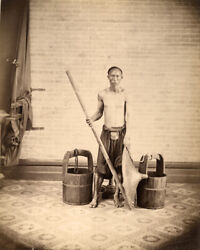 Vintage 1870 Photograph Of A Water Carrier By Floyd, Hong Kong