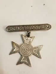 Wwii Vintage Sterling Silver Usmc Sharpshooter Pin Cross