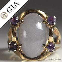 Gia Certified Natural Lavender Jade And Amethyst 14k Yellow Gold Ring Sz 6.25
