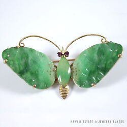 Vintage Apple-green Jadeite Jade And Ruby Butterfly 14k Yellow Gold Brooch
