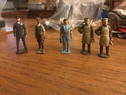 Lot 5 Vintage Lead Toy Figures Barclay Manoil Baker Mechanical Worker Police 2andrdquo
