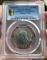 Pcgs Ms64 Germany 1934-f Third Reich Schiller Silver Coin 5 Mark