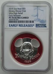 Ngc Pf70 Niue 2019 Mickey Mouse Club Ultra High Relief Silver Coin 2oz