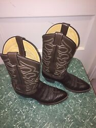 Justin Menand039s Full Quill Ostrich Western Boots Aqha Remuda 8512 Rare Menand039s 8.5