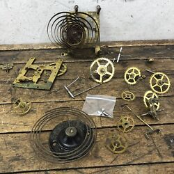 Antique Ansonia Clock Parts Lot 1882 Gong Gears Wheels Springs