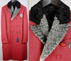 New Sz 48 / Us 38 Prada Red Coat Real Fur Collar Fall 2012 With Pins Brooches