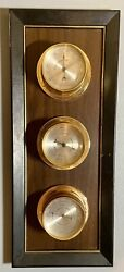 Vintage Springfield Wood Weather Station Thermometer Barometer Humidity 17andrdquox 7andrdquo