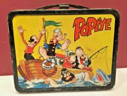 Vintage 1964andrsquos Popeye Metal Lunch Box Thermoses Box Cartoon Collectibles Antique