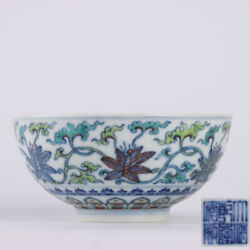 4.9 Old Chinese Porcelain Qing Dynasty Qianlong Mark Doucai Flower Plants Bowl