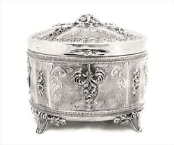 925 Sterling Silver Oval Chased Floral Intricate Swirl Border Esrog Jewelry Box