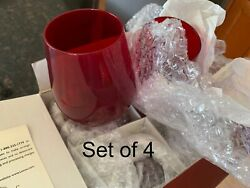 Lenox Holiday Gems Ruby Red Stemless Wine Glasses Set Of Four Open Box