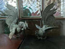 Four Rooster, Fighting Cocks Silver/brass Figurines, Italian Mid Century Decor