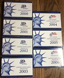 2000 - 2009 Clad Proof Sets 10 Years Of Original Clad Proof Sets With Coa