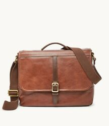 Fossil Evan Commuter Bag Messenger Men#x27;s Brown Leather NWT $129.95