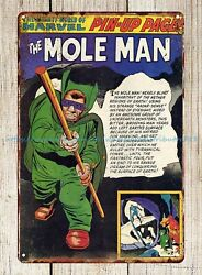 Mighty World Of Mole Man Pin-up Page Metal Tin Sign Vintage Bar Signs