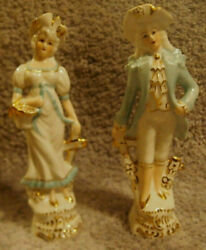 Vintage Ransgil China Figurines - Colonial Couple W/ Flowers And Gold Accents