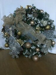 One-of-a-kind Handmade Flocked Christmas Wreath With Ornaments And Led Lights