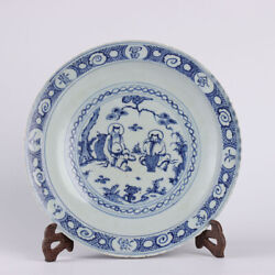 12.5 Antique Old Chinese Porcelain Dynasty Blue White Character Plate