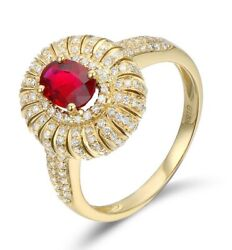 3 Cts Oval Cut Red Ruby Gemstone Art Deco Engagement Ring 18k-yellow Gold