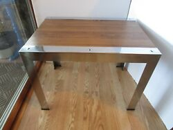 Mid Century Modern Chromed And Wood Tone Laminate End Table Milo Baughman Style