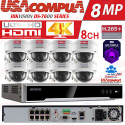 Hikvision 8ch 4k Security System Nvr Kit Channel 4mp Dome Poe Camera W/v Proof