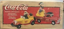 Coca-cola 1998 Ertl North Pole Bottling Works 2 Vehicles With Figures -brand New