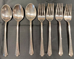 Holmes And Edwards Silverplate Spring Garden Flower 4 Dinner Forks 3 Table Spoons