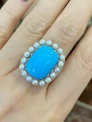 Turquoise, Pearl And Diamond Cocktail Ring In 18k White Gold - Hm2176ss