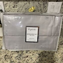 Capecchi Embroidered Napoleon Bee Queen Sheet Set Gray Italy Brand New