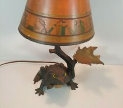 Rare Antique Painted Cast Iron Frog Hotel Bell Lamp Glass Eyes Rh Rich Foundry