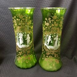Stunning Mary Gregory Matched Pair Blown Green Glass Vases Large